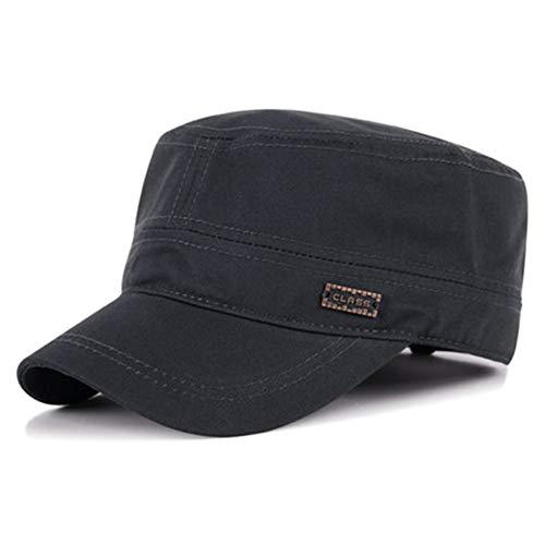 WUIO Gorra del ejército, Sombrero del ejército para los hombres de perfil bajo ajustable de algodón de la parte superior plana del ejército militar del cadete del sombrero del gorro, gris oscuro