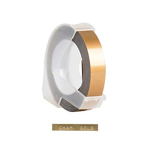 Recambio de cinta de etiquetas en relieve de plástico 3D para DYMO 12965 1610 Label Maker con 3/8 pulgadas * 9,8 pies, 1 rollo Champagne Gold