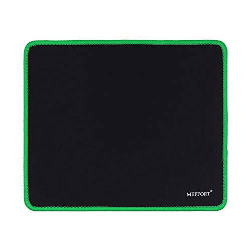 Meffort Inc Precise Gaming Mouse Pad Non-Slip Rubber Pads Stitched Edges Mousepad 9.5 x 7.9 inches - Black with Green Edges