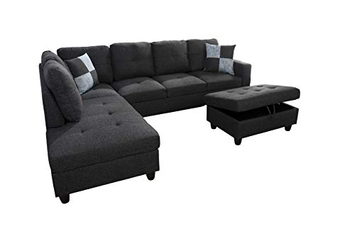 AYCP Fine Furniture Sectional Sofa Couch,L-Shaped Modern Style w/Storage Ottoman 3-Piece for Living Room|Linen Upholstery|(2) Toss Pillows(Left Hand Facing, Black)