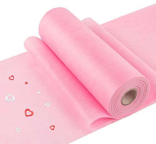 Agoer 30 cm x 30 m Vliestischläufer - Deko Vlies Tischband rosa Tischläufer, Tischdeko Geeignet für Geburtstagsfeier Babyshower Hochzeit 60-80 Personen (Rosa)