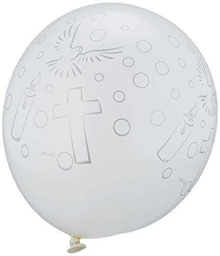 Folat- Globos de comunión blanca - 8 piezas, Color, Costumes (63474)