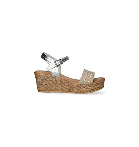 PORRONET 2647 Alegra, Sandalias con cuña y Plataforma, para Mujer, Color Metalizado - Cuero Talla: 40