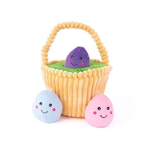 ZippyPaws - Holiday Burrow, Interactive Squeaky Hide and Seek Plush Dog Toy - Easter Egg Basket