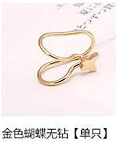 HND ZNXHNDSH Earrings U star moon shaped earrings minimalist women metal buckle fake perforated ear clips thornless pearl earrings (Metal Color : Gold butterfly)