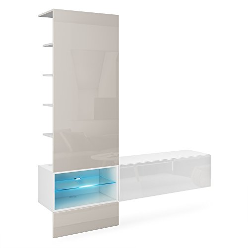 Vladon Wohnzimmer Wohnwand Anbauwand Manhattan, Korpus in Weiß matt/Fronten in Weiß Hochglanz, Paneel in Sandgrau Hochglanz mit LED Beleuchtung