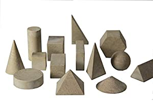 14 geometrische Körper aus RE-Wood Quadratsäule, Würfel (3x3x3cm), Quadratpyramide, 2 Rechtecksäulen, 2 dreieckige Säulen, Dreieckpyramide, 2 Zylinder, 2 Kegel, Sechsecksäule und Kugel verpackt im Karton mit Anleitung aus RE-Wood (zu 100%-recyclebar,...