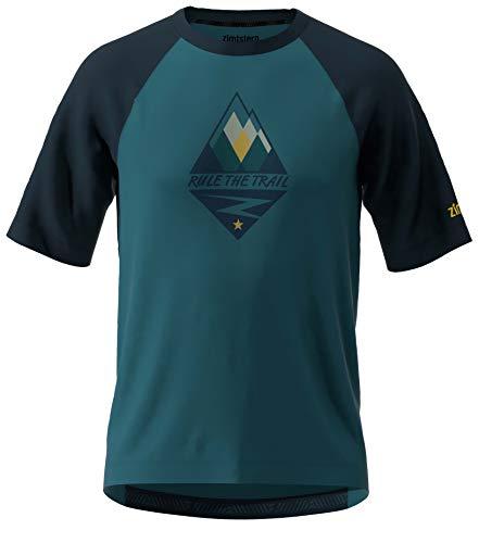 Zimtstern Herren PureFlowz Shirt SS MTB, Blue Steel/French Navy/Mimosa, L