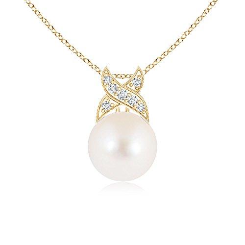 Angara.com Criss Cross vintage diamante solitario ciondolo collana di perle coltivate e Oro giallo, cod. ANG-P-SP0862FWPRD-YG-AAA-8