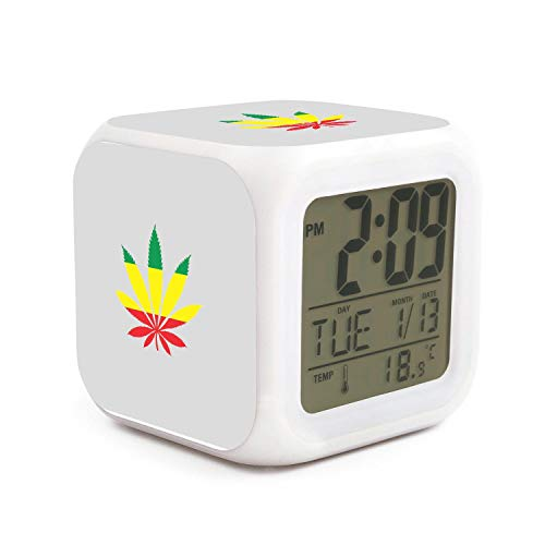 Marijuana Leaf Weed Cannabis2 7 Color Light Therapy Alarm Clock£¬Two Lighting Modes,Multiple Functions,Large LED Digital…