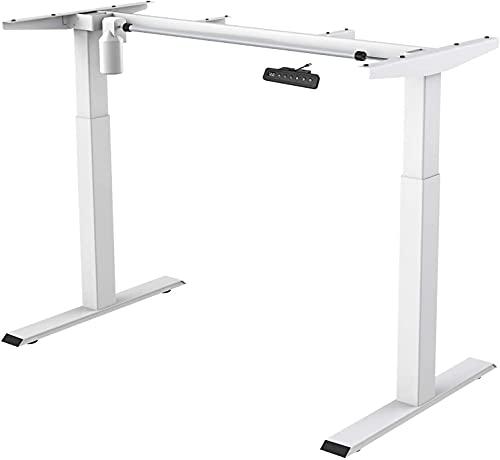 MAIDeSITe - Escritorio de altura regulable eléctrica con estructura de mesa, 2 plataformas elevadoras para todo tipo de patas de mesa   Protección contra colisiones   Función de memoria (blanco)