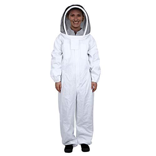 Mufly Imkeranzug mit Zaunschleier für Imker,Belüfteter,Baumwolle Imker-Anzug,Unisex Imker Biene Anzug für Professionelle Imker und Anfänger(XL, Weiß)
