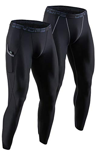 DEVOPS 2 Pack Men's Compression Pants Athletic Leggings with Pocket (Large, Black/Black)