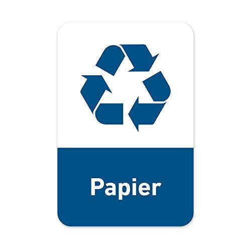 Recycling Aufkleber 8er Set Papier Mülltonnen Mülleimer (10 x 15 cm)