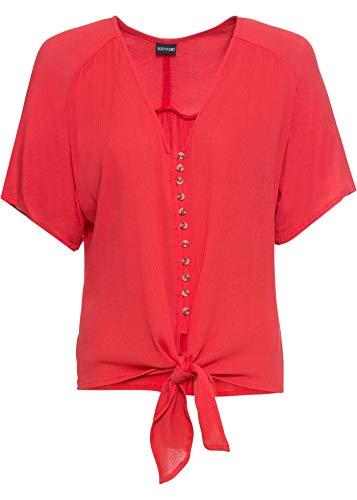 bonprix Leichte Bluse mit Knoten vorne und Knöpfen Erdbeere 36 für Damen