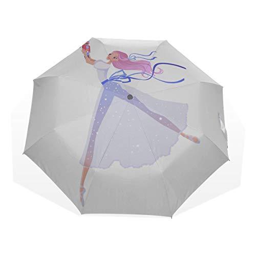 Regen Männer Regenschirm Süße Balletttänzerin Mädchen Ballerina 3-Fach Kunst Regenschirme (Außendruck Niedlicher kompakter Regenschirm Spaß Kompakter Regenschirm Regenschirm Winddichtes Falten
