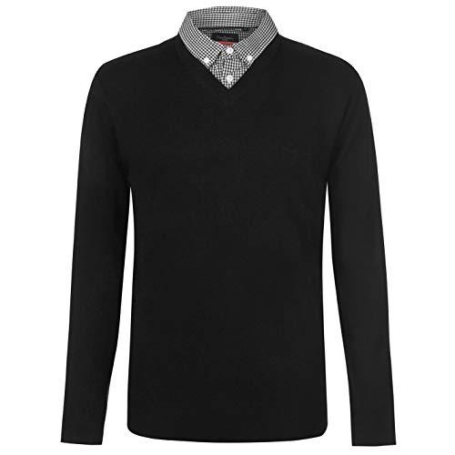 Pierre Cardin Pull en tricot avec col en V pour homme ,Noir/Blanc,M