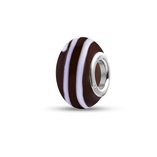 Preisvergleich Produktbild Quiges Glas Bead Perle für Damen Handgemacht Braun mit weißen Streifen