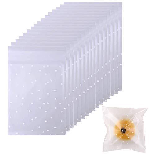 UCLEVER Bolsa de Dulces autoadhesiva 200 Piezas, Bolsas de Fiesta Transparentes de celofán con Sellado de Galletas de Lunares Blancos (10 x 15 cm)