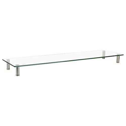 LogiLink BP0060 TV-Monitorerhöhung /-Tisch aus Glas (Dicke: 8mm), bis Belastung 20kg, höhenverstellbar Durchsichtig
