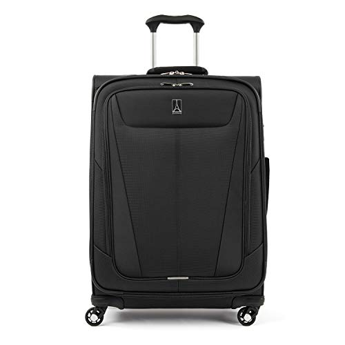 Travelpro Maxlite 5-Softside Expandable Spinner Wheel Luggage, Black, Checked-Medium 25-Inch