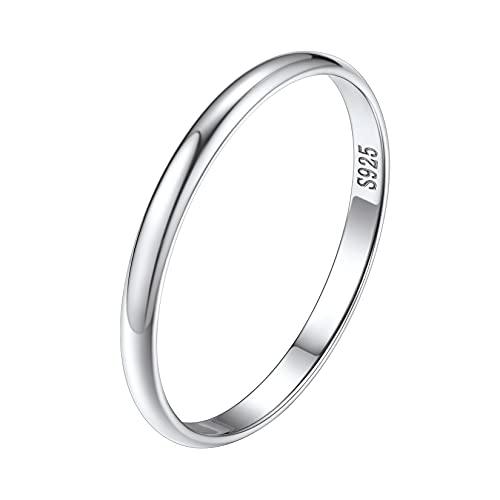 Silvora Anillo de plata de ley, anillo de eternidad cubano/nudo celta para mujeres/hombres, anillo de boda pulido con embalaje delicado, Plata-esterlina, Cubic Zirconia,