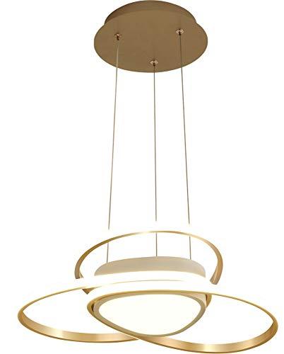AXWT Lámpara Moderna del Techo de luz LED Luces Pendientes Restaurante Creativo Envolvente Gama Alta Lámparas del Oro Decorativo Ligero Resplandor Exterior