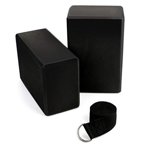 Tebery Yoga Block 2 Piezas Bloque de Espuma EVA de Alta Densidad con Correa de Yoga con Anillo en D de Metal