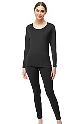 Womens Super Comfy Fleece Lined Thermal Underwear Long Johns Set AZ 2000 Black L