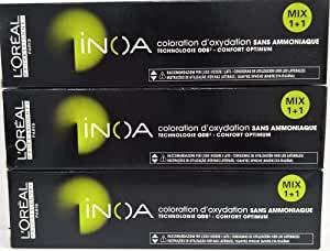 Loreal Inoa 5,56 - Tinte para el cabello (3 x 60 ml, sin amoniaco, LP coloración)