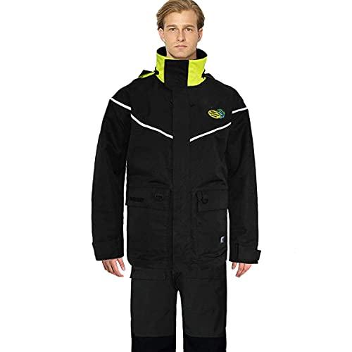 Navis Marine Sailing Jacket with Bib Pants for Men Women Waterproof Breathable Rain Suit Fishing Foul Weather Gear(Carbon, Medium)