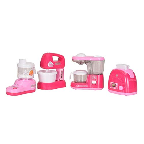Leona Enterprise® Household Set for Kids Girls Modern Kitchen Play Set with Sound Music Pretend Play Appliances Accessories Set of 4 (Juice Mixer, Toaster, Kitchen, Water Dispenser)