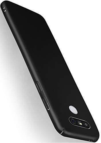 MoEx Cover Ultra-Sottile Compatibile con LG G5 | Rigida Anti-graffio, Nero Metallico