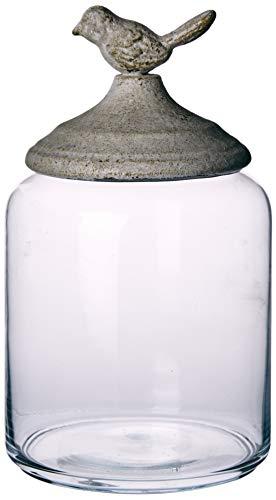 Better & Best 2122042 voorraadpot, glas, laag, rond glad, met wit deksel met vogeltje
