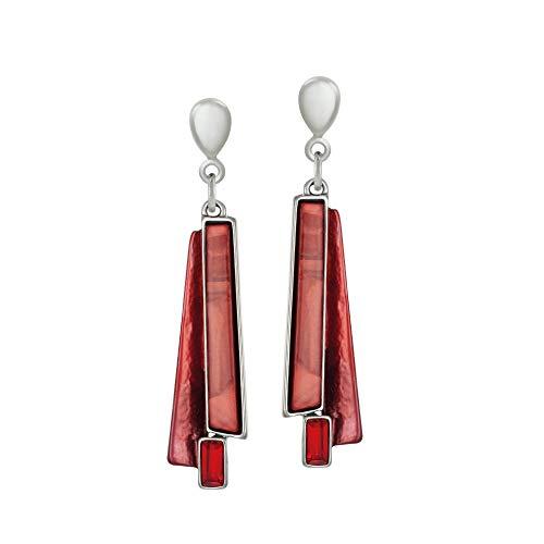 Eternal Collection Zelda Red Enamel Silver Tone Drop Clip On Earrings Red 5.8