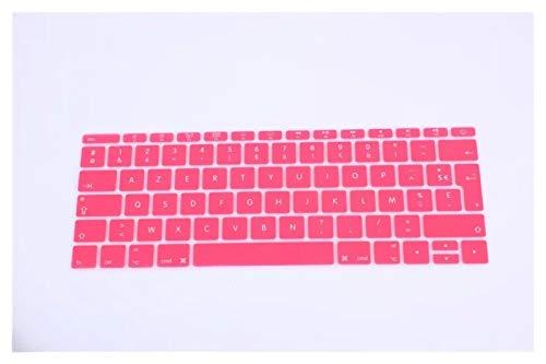 Protector de teclado de silicona para MacBook Pro de 13 pulgadas A1708 (versión 2016, no Touch Bar) para 12 pulgadas A1534 Retina para protección de teclado (color: rosa)