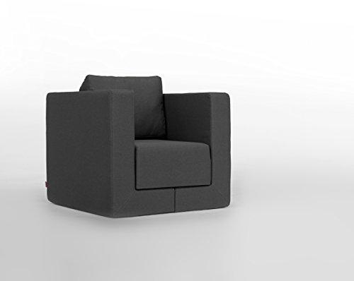 FEYDOM Verwandlungssessel Schlafsessel Loungesessel Lesesessel Gästebett Liege Q6 Webstoff dunkelgrau, German Design Award Nominee 2013, Design-Sessel zum relaxen