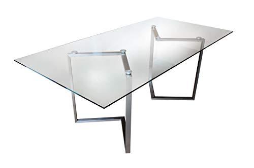 CHYRKA® Esszimmertisch Esstisch SOKAL Wohnzimmertisch Bürotisch Computertisch Beistelltisch Edelstahl Schminktisch Moderne Design Glas Schreibtisch (160 x 90 cm)