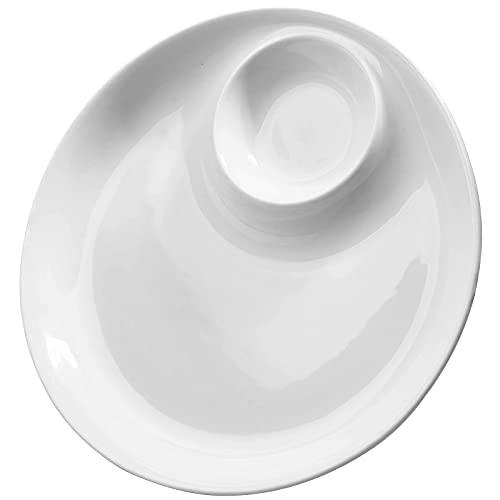 Porcelain Chip & Dip Serving Set, 10'' Chip and Dip Platter Divided Serving Dish Trays for Superbowl Partie - Set of 1