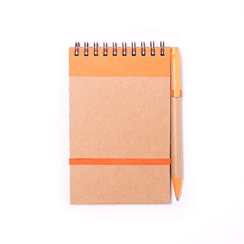 Projects Mini Notizblock mit Stift orange - Notizbuch klein liniert mit Gummiband Spiralbindung Hardcover Kugelschreiber   Bullet Journal Ringbuch Papier 80g/m² 70 Seiten   Notebook Paper lined