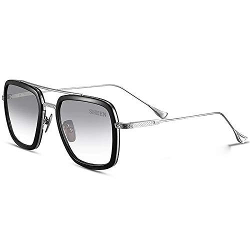 SHEEN KELLY Gafas de sol retro de gama alta Gafas Tony Stark Gafas cuadradas Marco de metal para hombres Mujeres Gafas de sol de Iron Man Vuelo Mismo párrafo Lente transparente Gradiente Gris