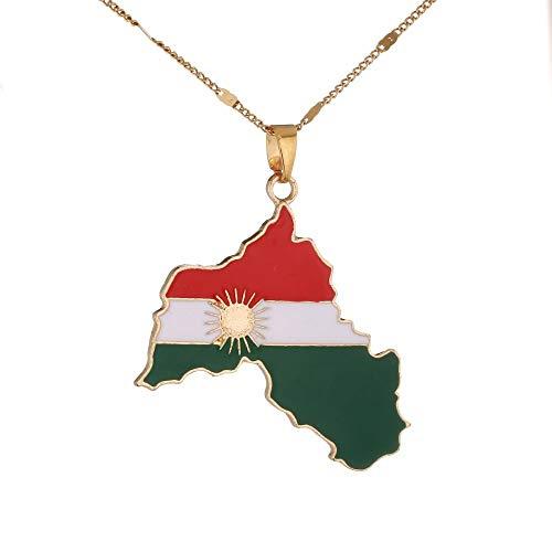 Collar De Mapacharm Kurdistan Contorno Bandera Sol Mapa Dorado Colgante Collar Unisex Único Brillante Joyería Étnica para Mujeres Hombre Niñas Varias Ocasiones Regalo De Recuerdo De Viaje