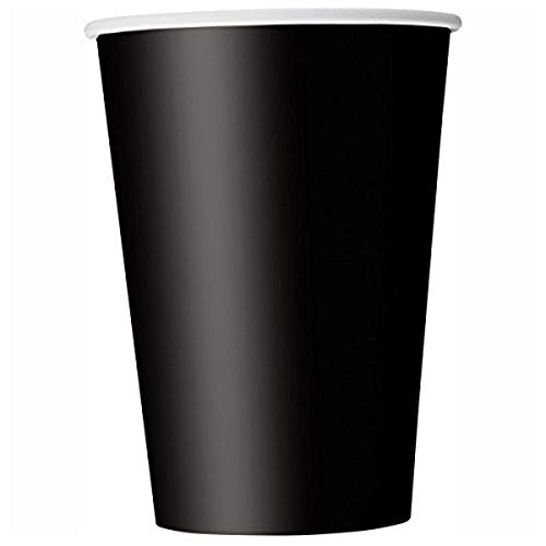 Unique Party- Paquete de 14 vasos de papel, Color negro, 266 ml...