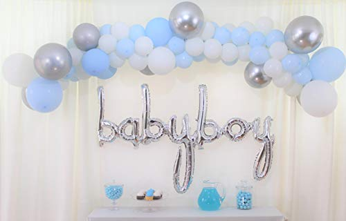 Baby Blue Balloon Garland Arch Kit, Baby Shower Decorations for boy,16 Arch Set, 90 Metallic Silver White and Blue Balloons,Silver Baby Boy Foil Letters, baby its cold outside, Boy Baby Shower Decor