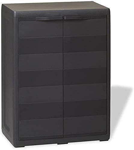 2 puertas y 1 estante ajustable de ventilación con cerradura de seguridad armarios de jardín de gabinetes de plástico,Black