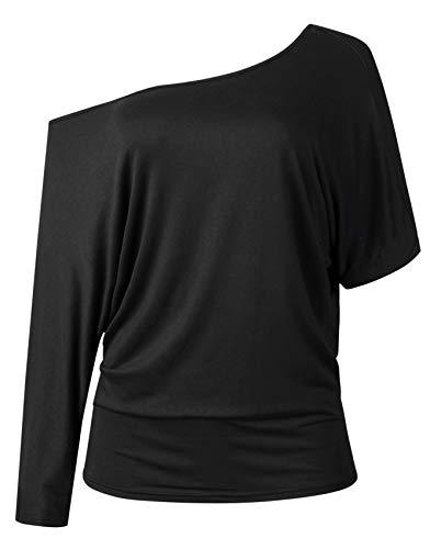 Manga Larga Mangas de Durciélago Murciélago Asimétrico Un Hombro Drapeada Drapeado T-Shirt Camiseta Playera Blusón Blusa Camisa Top Negro M