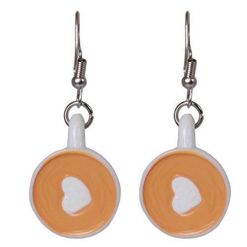 MOONRING Lange Ohrringe Liebe Herz Kaffeetasse Schriftzug Drop Dangle Ohrringe für Frauen Schmuck Geschenke, Weiß