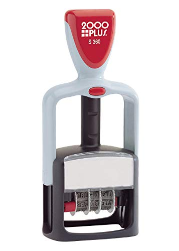 2000 PLUS 4-In-1 Date and Message Stamp, Self-Inking, ENTERED, PAID, RECEIVED, FAXED, 1-3/4' x 1-1/8' Impression, Red and Blue Ink (032519)