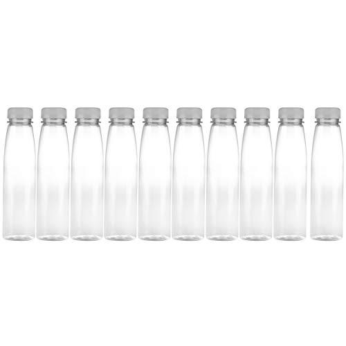 DOITOOL Botellas de plástico vacías, 10 unidades, 330 ml, para zumo transparente, con tapas, botella portátil de bebidas (color al azar)