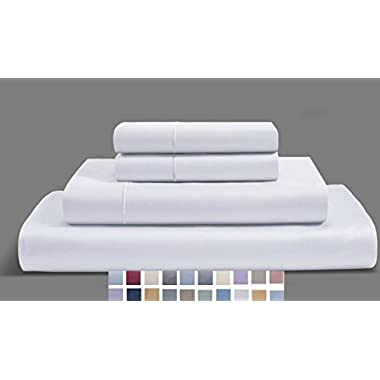 CHATEAU HOME COLLECTION 800-Thread-Count Egyptian Cotton Deep Pocket Sateen Weave Full Sheet Set, White